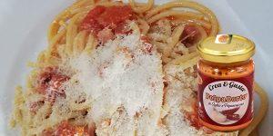 Polpadorto aglio e peperoncino con spaghetti alla pancetta