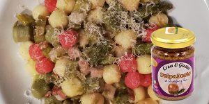 PolpaDorto Scalogno e Timo in nocchetti tricolori con asparagi e pancetta